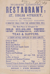 Advert for the North London Restaurant